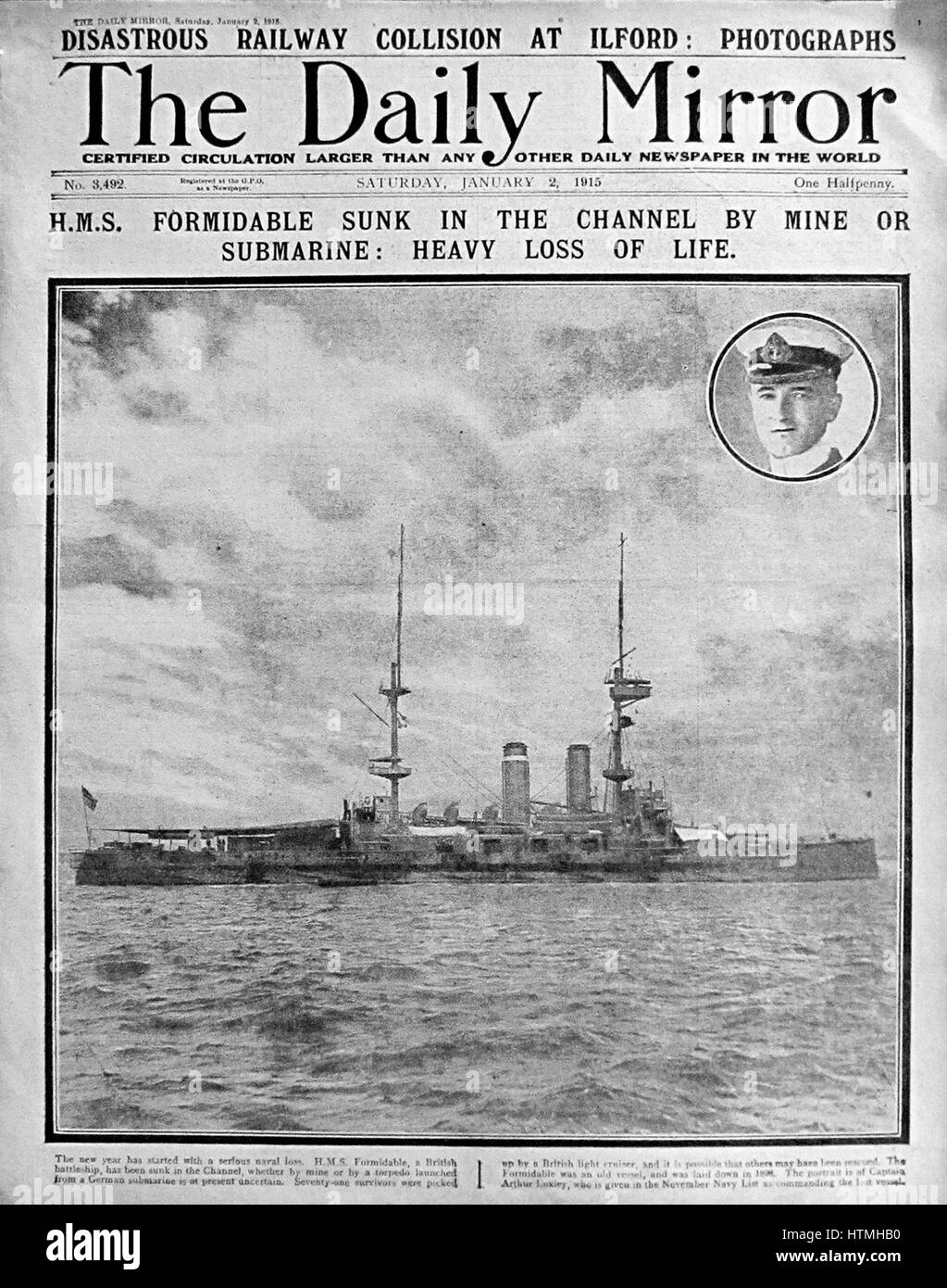 Front page of the Daily Mirror, a British newspaper during the First World War 1915. The headline refers to the - Stock Image