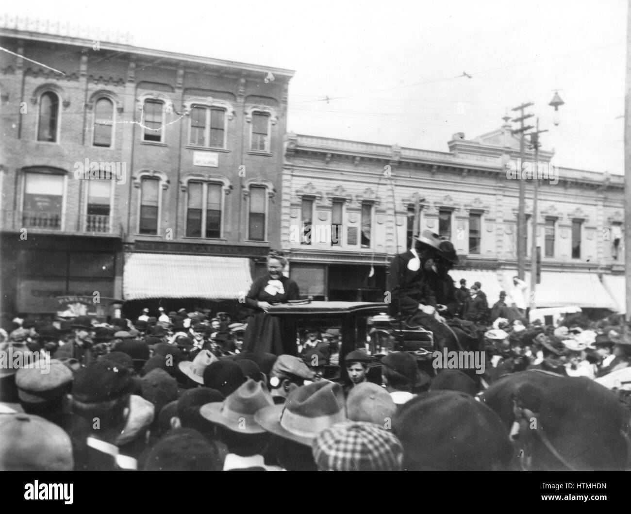 Prohibition advocate Carrie Nation, known for smashing up saloons, was mocked by students at a rally in 1902 on - Stock Image