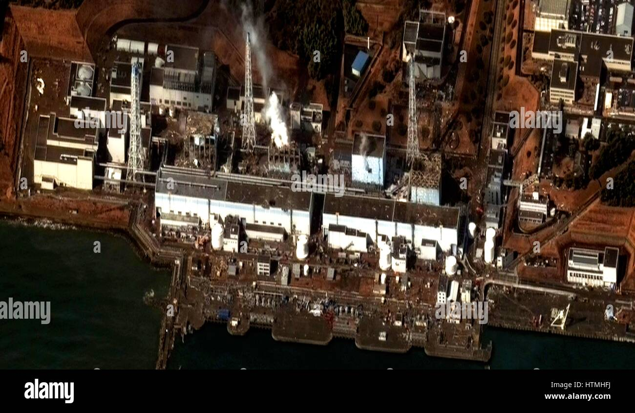 Fukushima Daiichi reactor in North eastern Japan 2011 Satellite view of earthquake damage to the reactors march16th - Stock Image