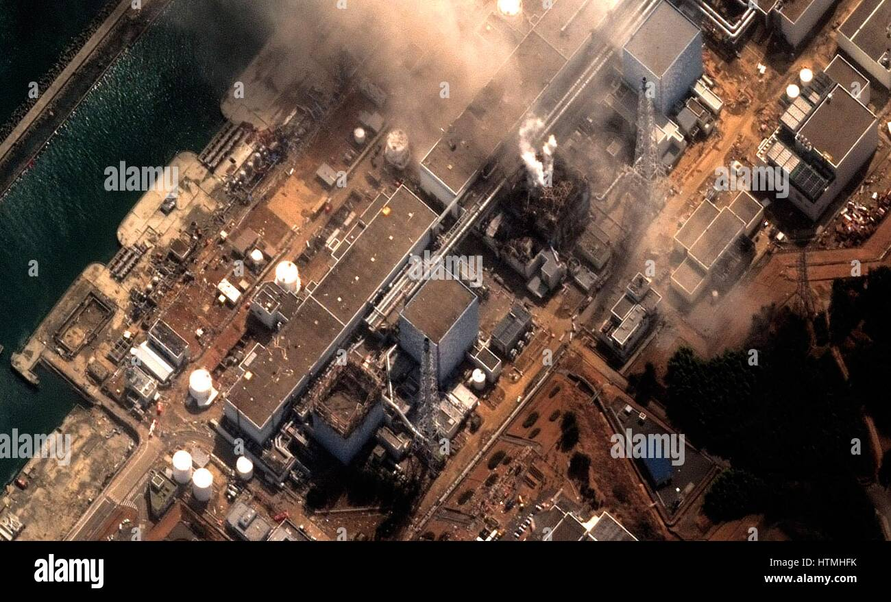 Fukushima Daiichi reactor in North eastern Japan 2011 Satellite view of earthquake damage to the reactors march. - Stock Image