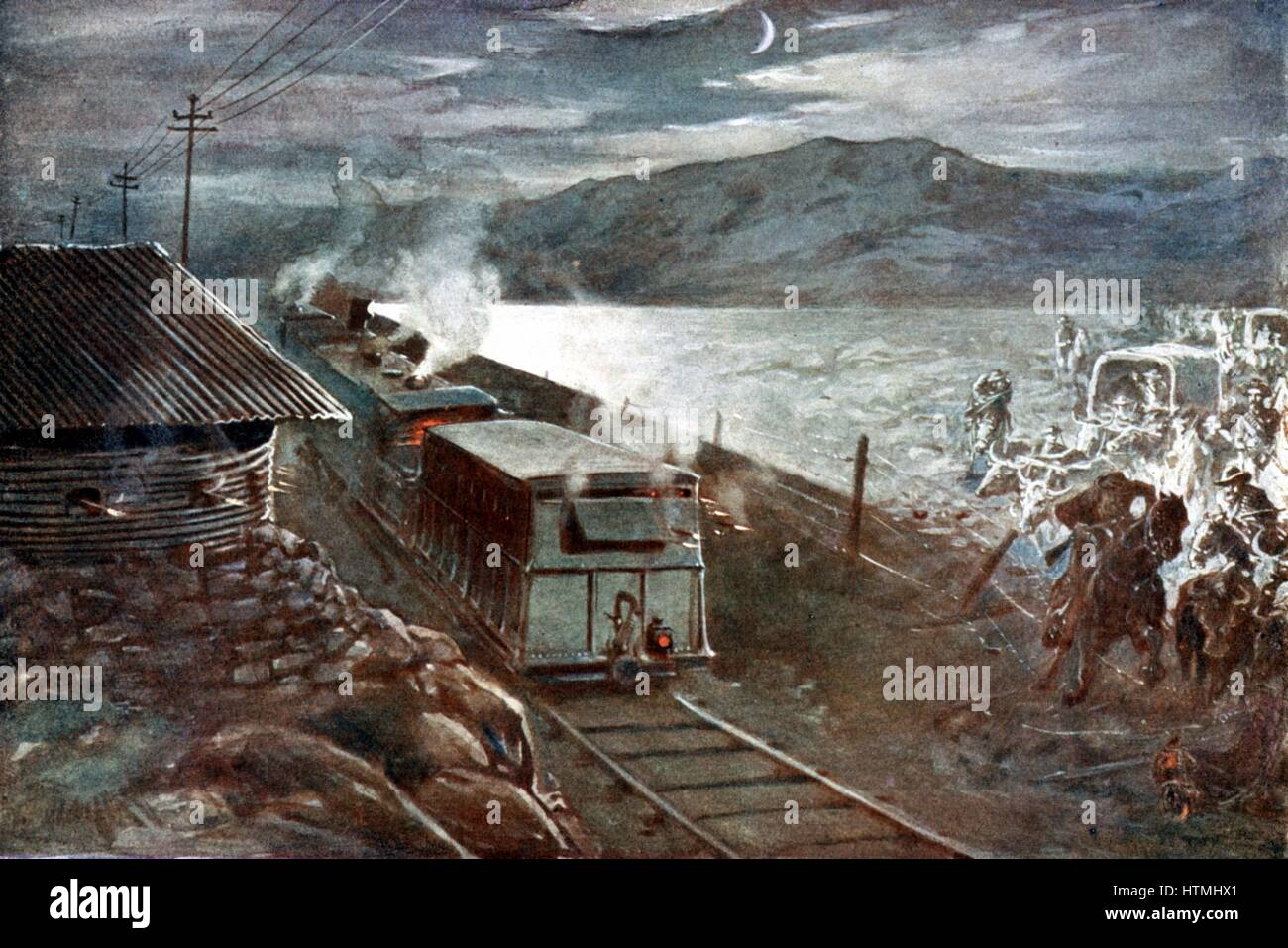 Boer War: Boer leader De Wet attempting to lead a party across a railway in face of fire from armoured train and - Stock Image