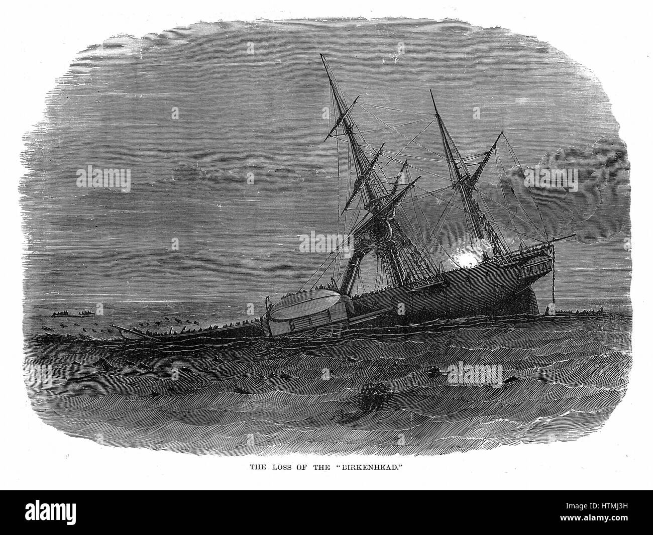 Loss of iron paddle-steamer troop ship 'Birkenhead' off Simon's Bay South Africa 26 February 1852. Commanding officer, Stock Photo