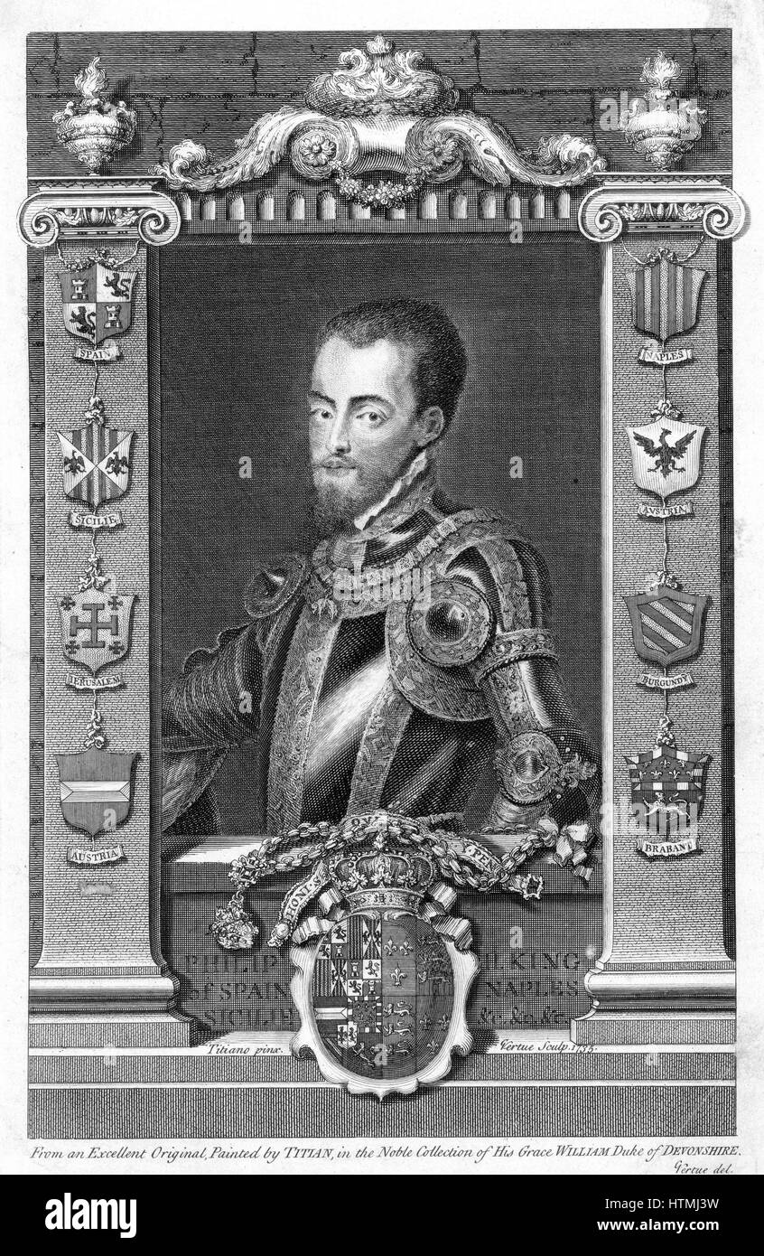 Philip II (1527-98) King of Spain (1556). Son of Emperor Charles V (1500-1558), husband of Mary I (1518-1558) queen - Stock Image