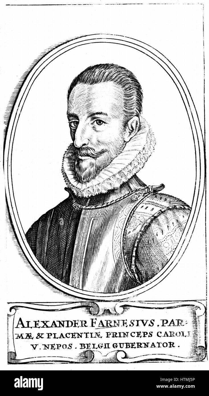 Alessandro Farnese, 3rd Duke of Parma (1546-92). Nephew of Philip II (1527-98) king of Spain from 1556. Governor - Stock Image