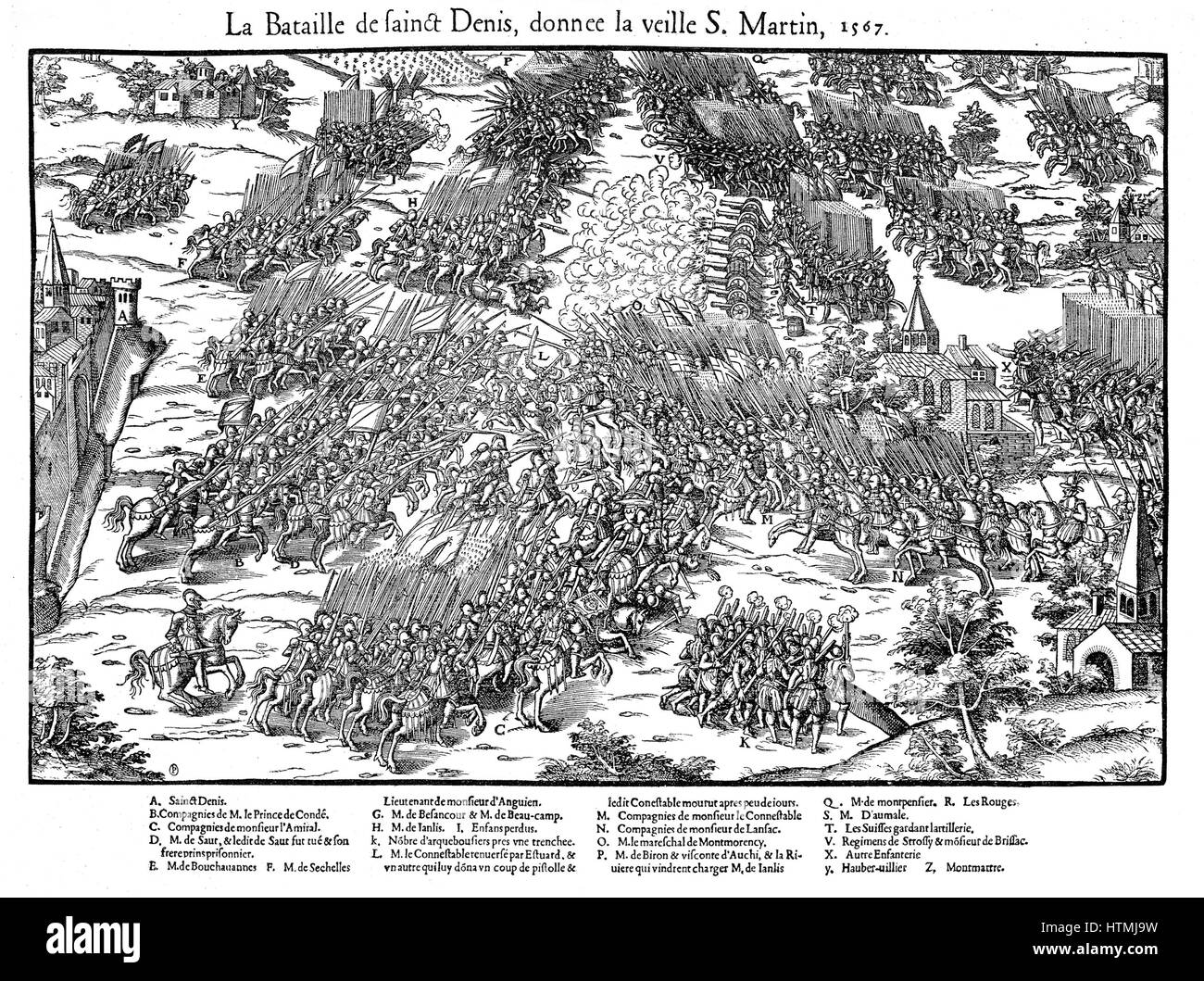 French Religious Wars 1562-1598 Battle of St Denis, 10 November 1567,  between Huguenots under Louis, Prince de Conde (1530-1569) and the royal  army under ...