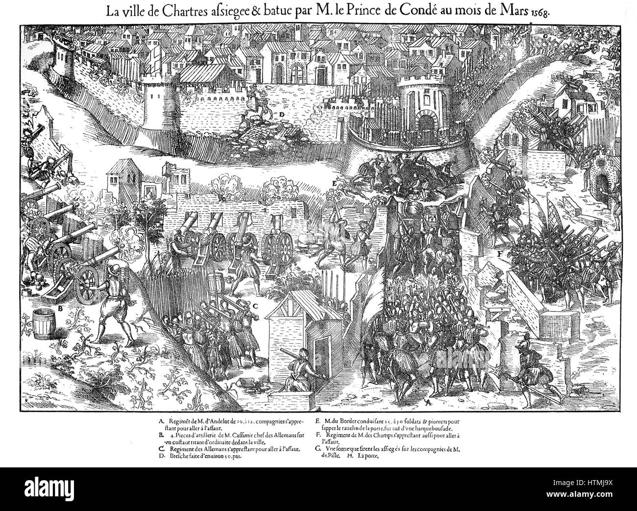 French Religious Wars 1562-1598. Siege of Chartres. Huguenots besieged Chartres at the end of February 1568, breaching - Stock Image