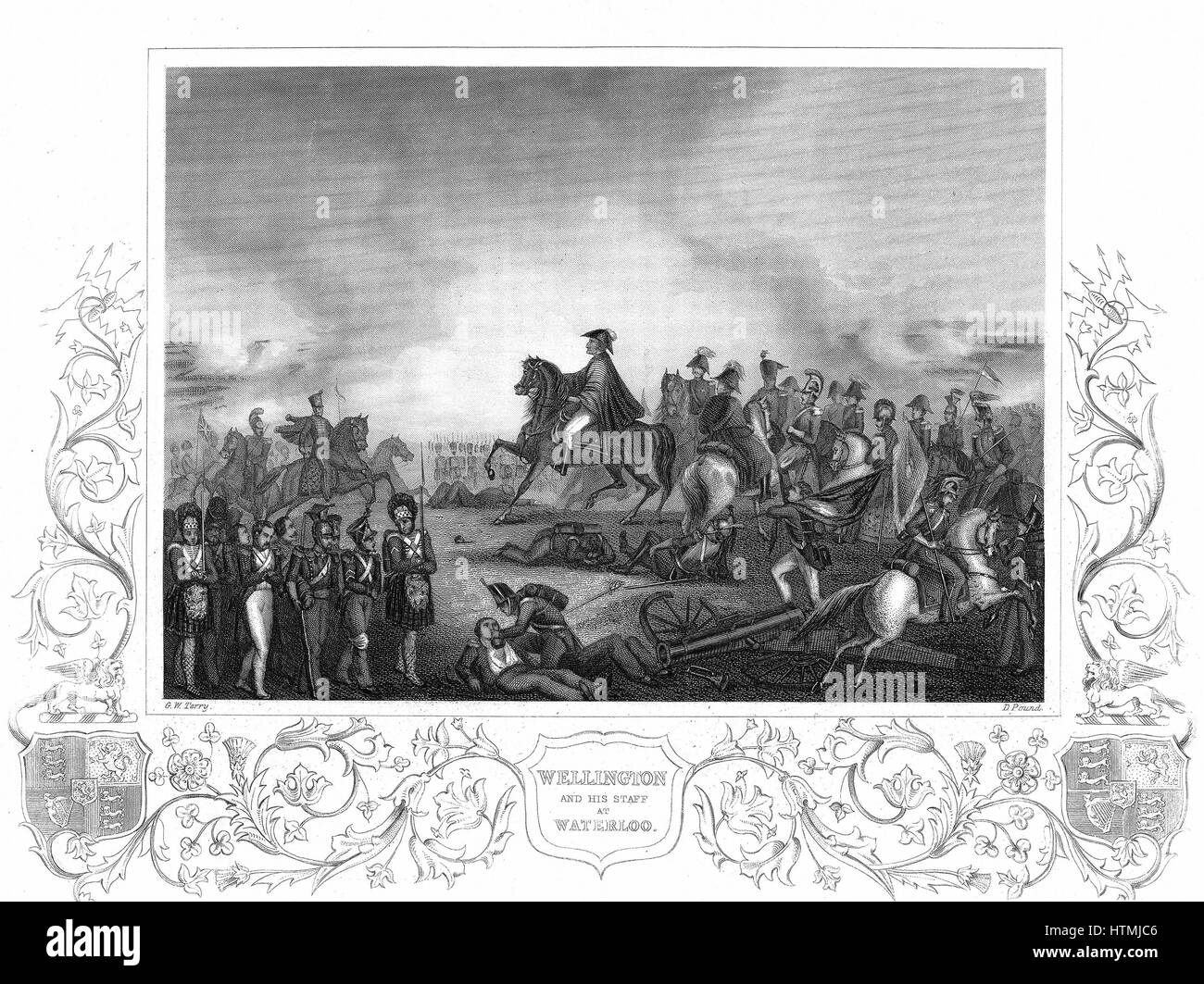 Arthur Wellesley, Duke of Wellington (1769-1852) with his staff at the Battle of Waterloo 18 June 1815. Engraving - Stock Image
