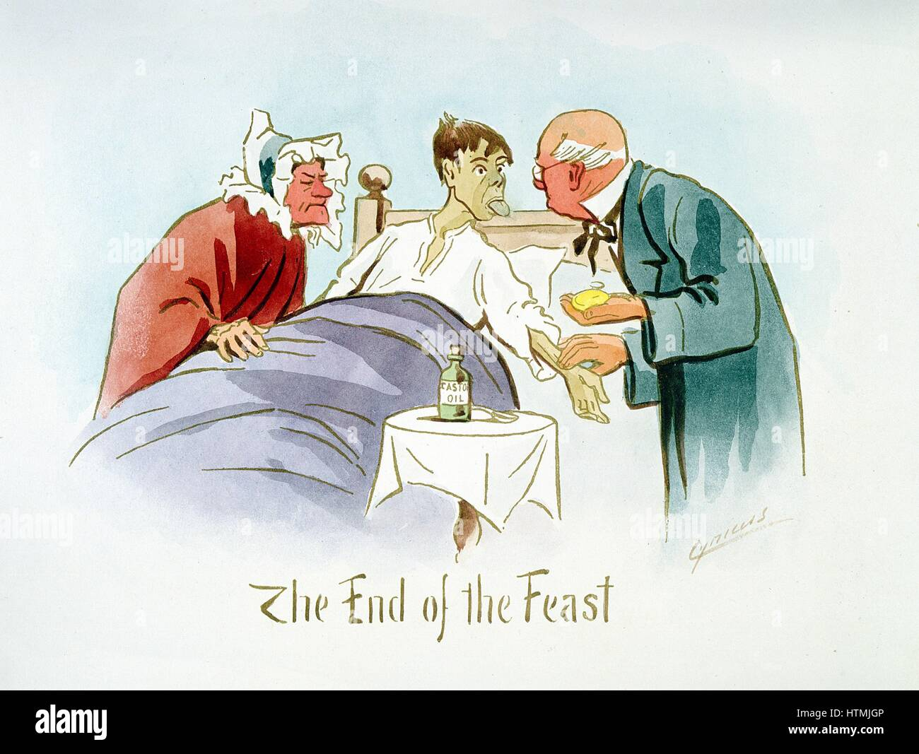 'The End of the Feast': Boy in bed shows furred tongue to doctor who feels pulse. On table is bottle of - Stock Image