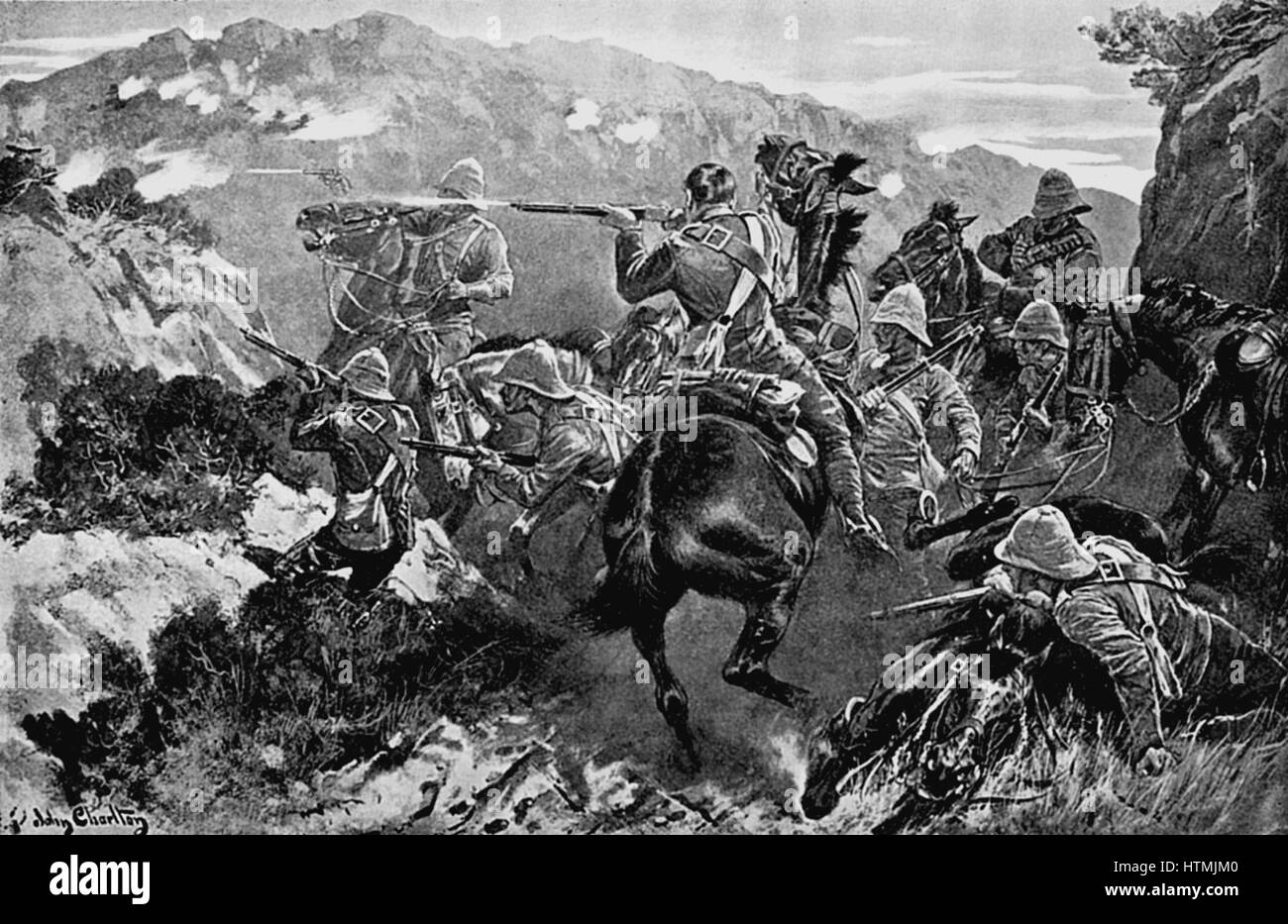Picket of 13th Hussars surprised near the Tugela River (Hussar Hill). 2nd Boer War 1899 -1902 - Stock Image