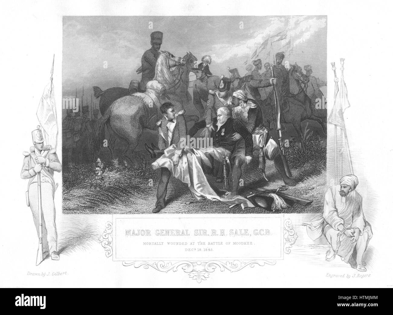 Robert Henry Sale (1782-1845) English general. Mortally wounded at Battle of Mudkhi (Moodkee), 18 December 1845, - Stock Image
