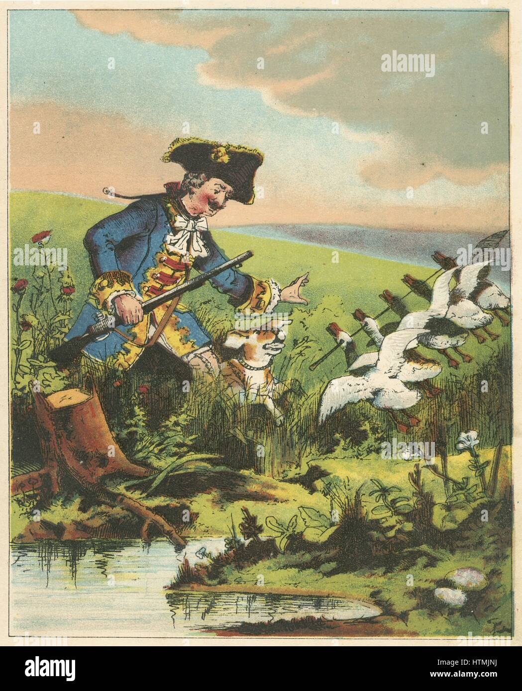 Munchausen, showing his prowess as a hunter by killing many widlfowl with a single shot. From RE Raspe 'The - Stock Image