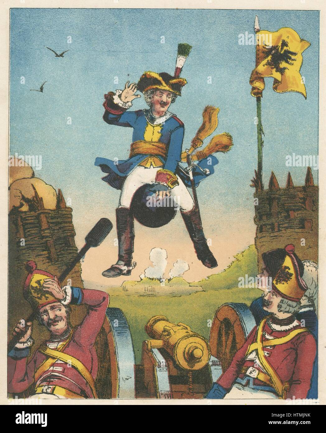 Munchausen, surprising artillerymen by arriving in their midst mounted on a cannon ball. From RE Raspe 'The - Stock Image