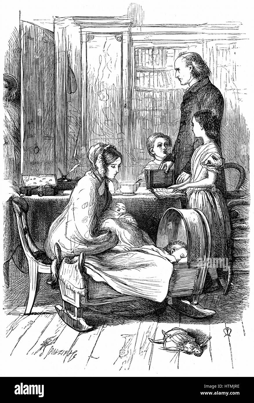 The Rev. and Mrs Crawley and their young family which, as an impoverished parson, he had difficulty in supporting. Stock Photo