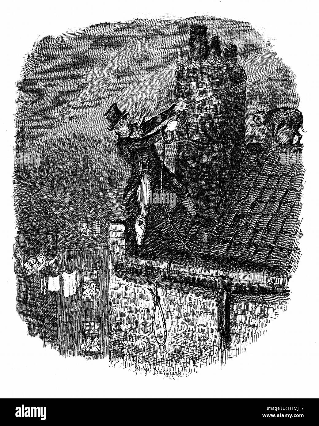 The Last Chance: Bill Sykes attempting to escape from the law over the rooftops, falls and hangs himself with his - Stock Image