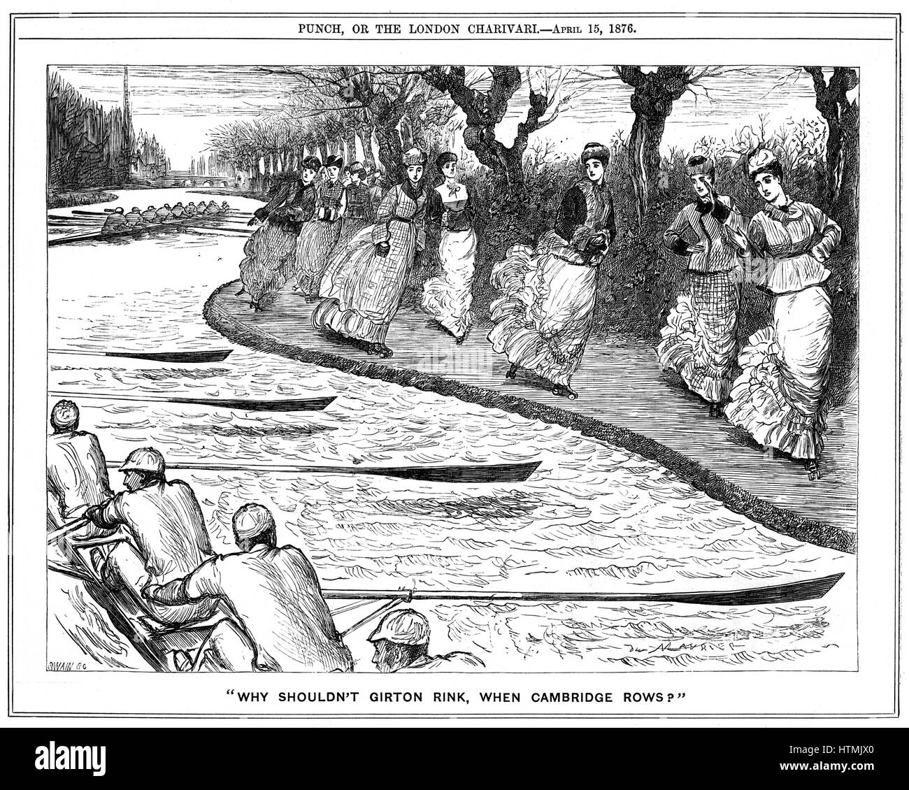 Roller skating very much in fashion. Lady students from Girton on the towpath waving to oarsmen rowing on the river. - Stock Image