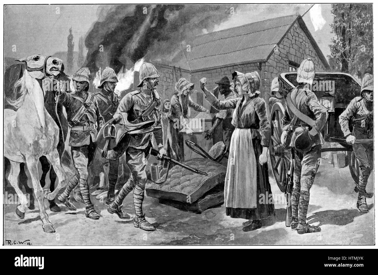 Burning the Farm of a Treacherous Burgher. After painting by R. Caton Woodville. Boer farmer's wife shakes her - Stock Image