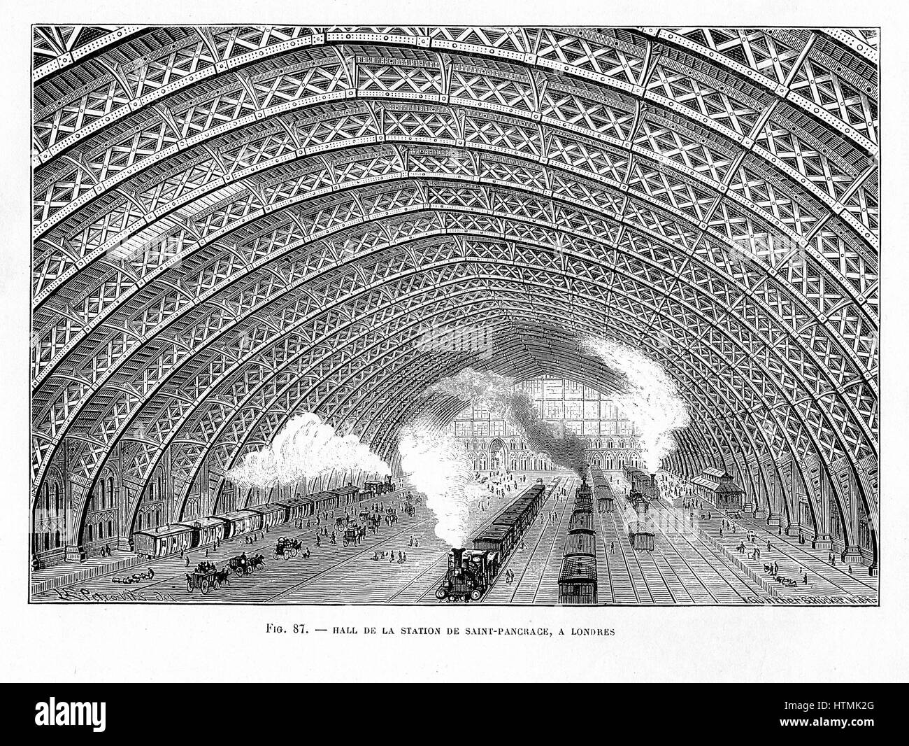 Interior of St Pancras Railway Station, London 1865. Using an iron latticed arched roof, WJ Barlow & RM Marsh - Stock Image