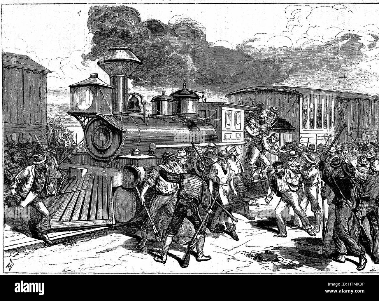 Riot by railroad workers at Martinsburg on the Baltimore-Ohio Railroad, when workers went on strike because the - Stock Image