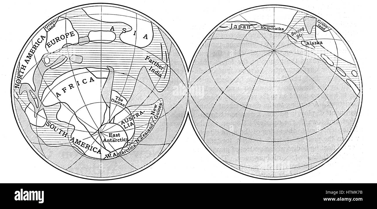 Diagram of the Earth during Carboniferous period. Land - unshaded: Deep sea - diagonal lines: Shallow water - horizontal Stock Photo