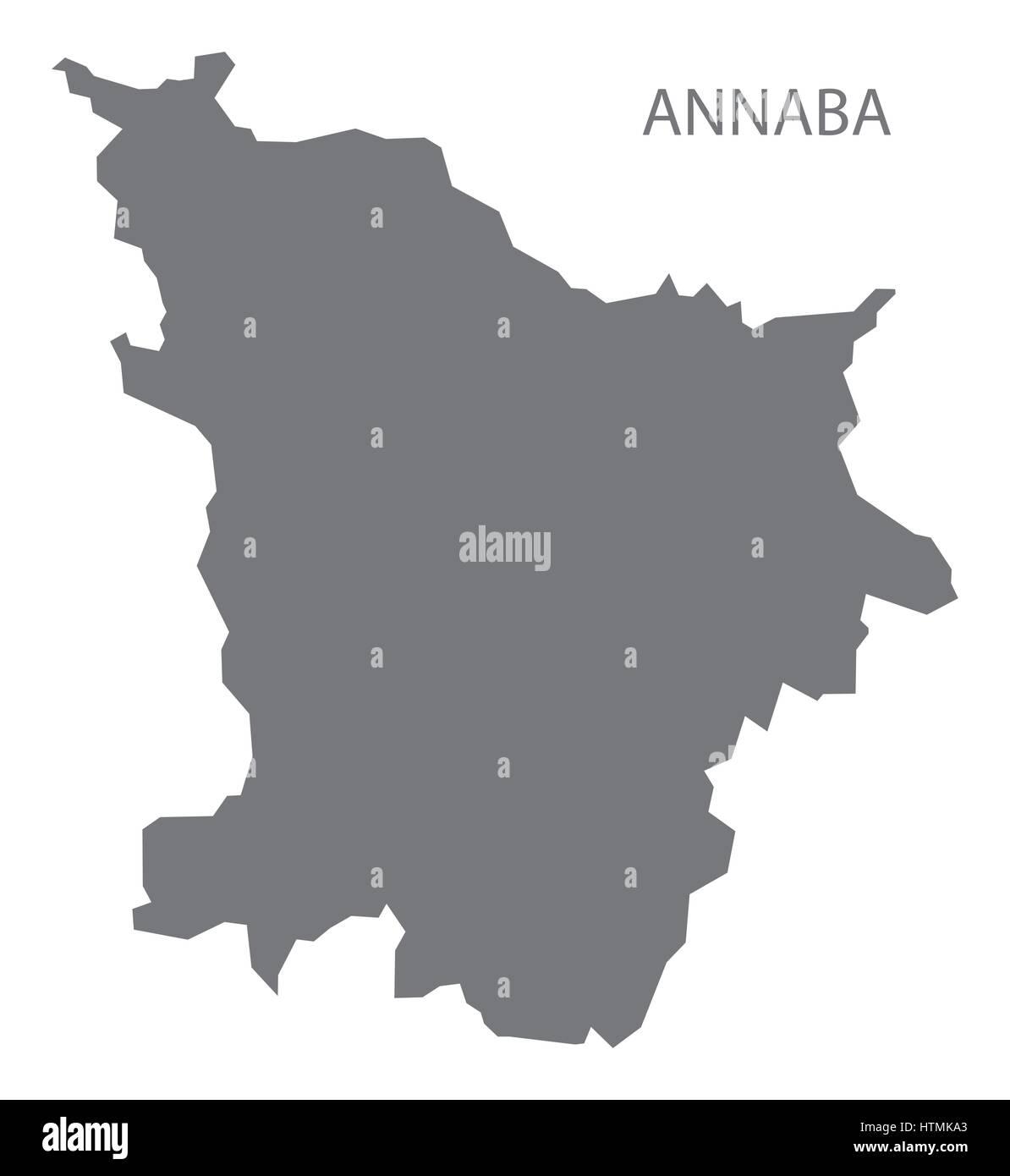 Annaba Algeria map grey illustration silhouette Stock Vector Art