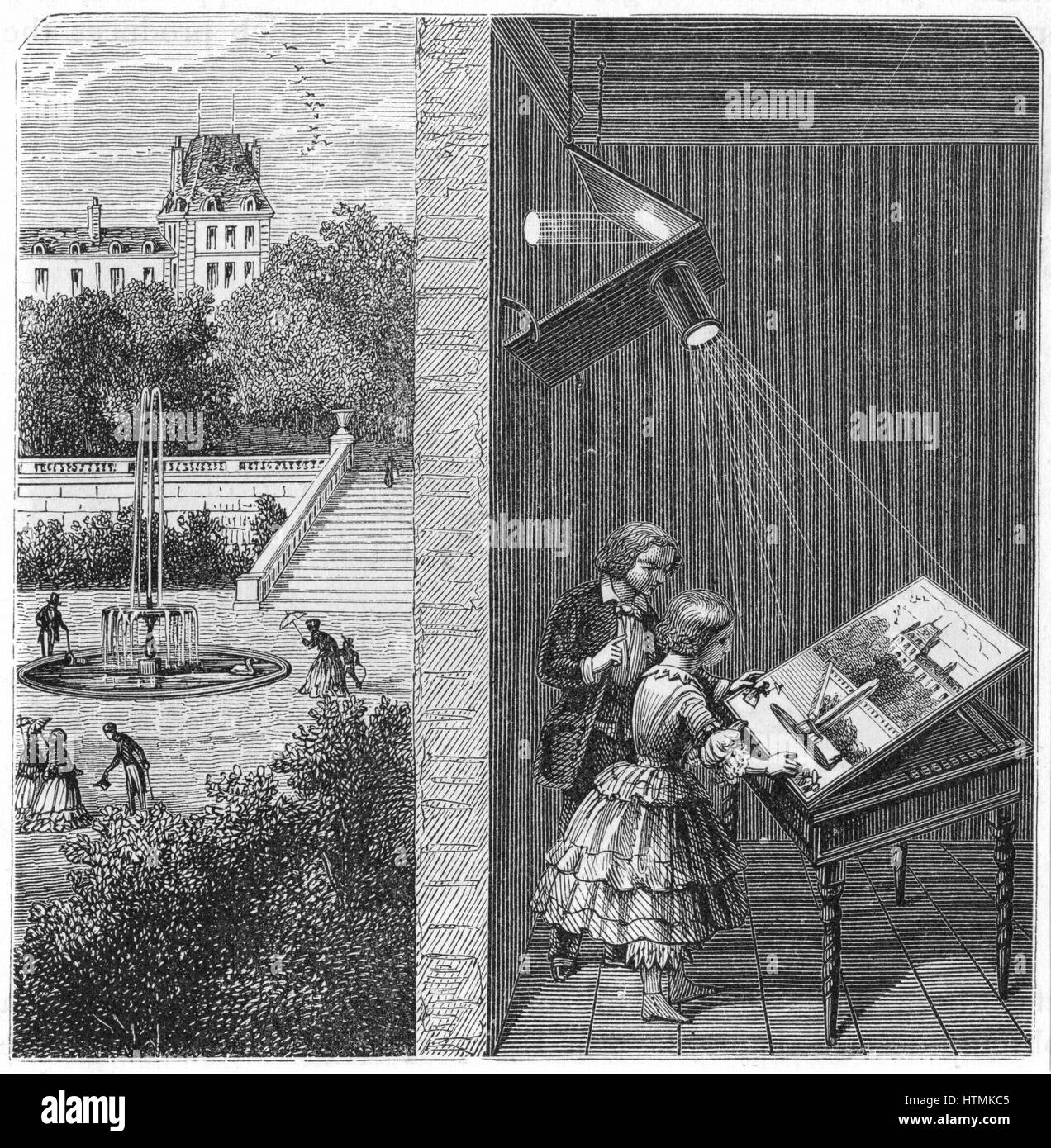 Children watching an outdoor scene through a camera obscura. From A Ganot 'Natural Philosophy' London, 1887 - Stock Image