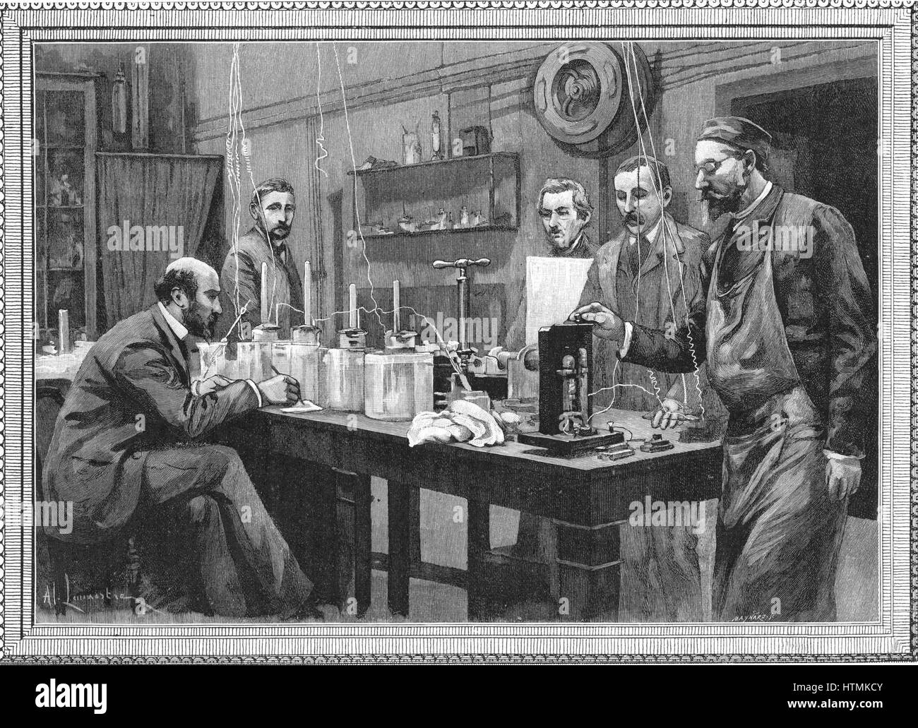 Physics research laboratory at the Sorbonne, Paris. Engraving, 1895. - Stock Image
