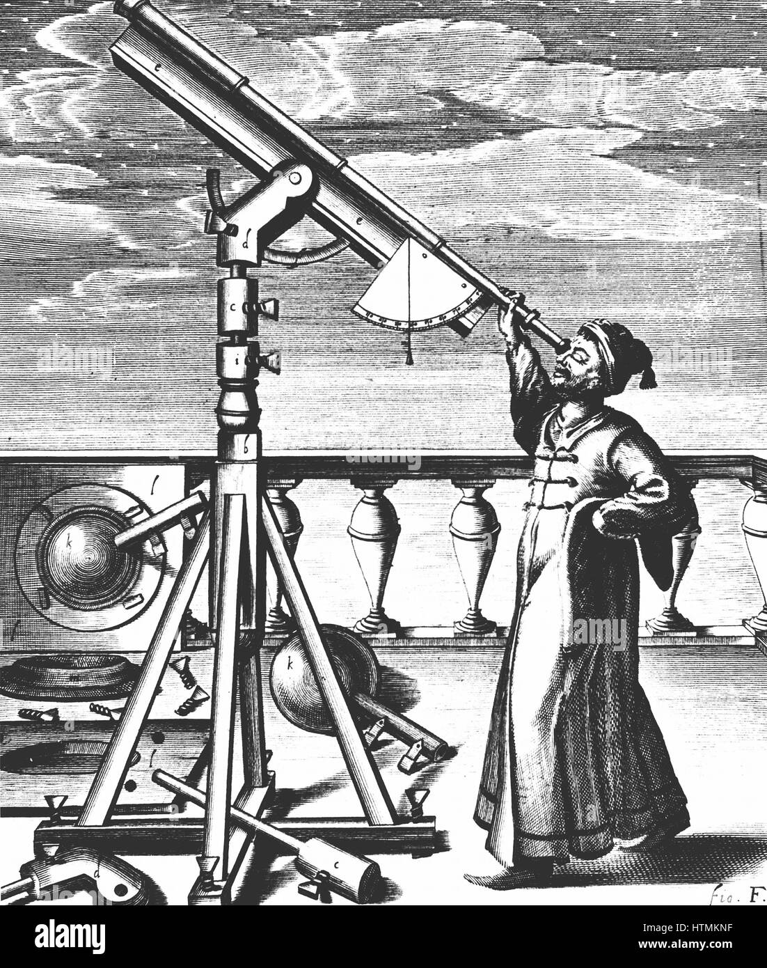 Hevelius observing through refracting telescope on stand fitted with quadrant and plumb-bob so altitude of object Stock Photo
