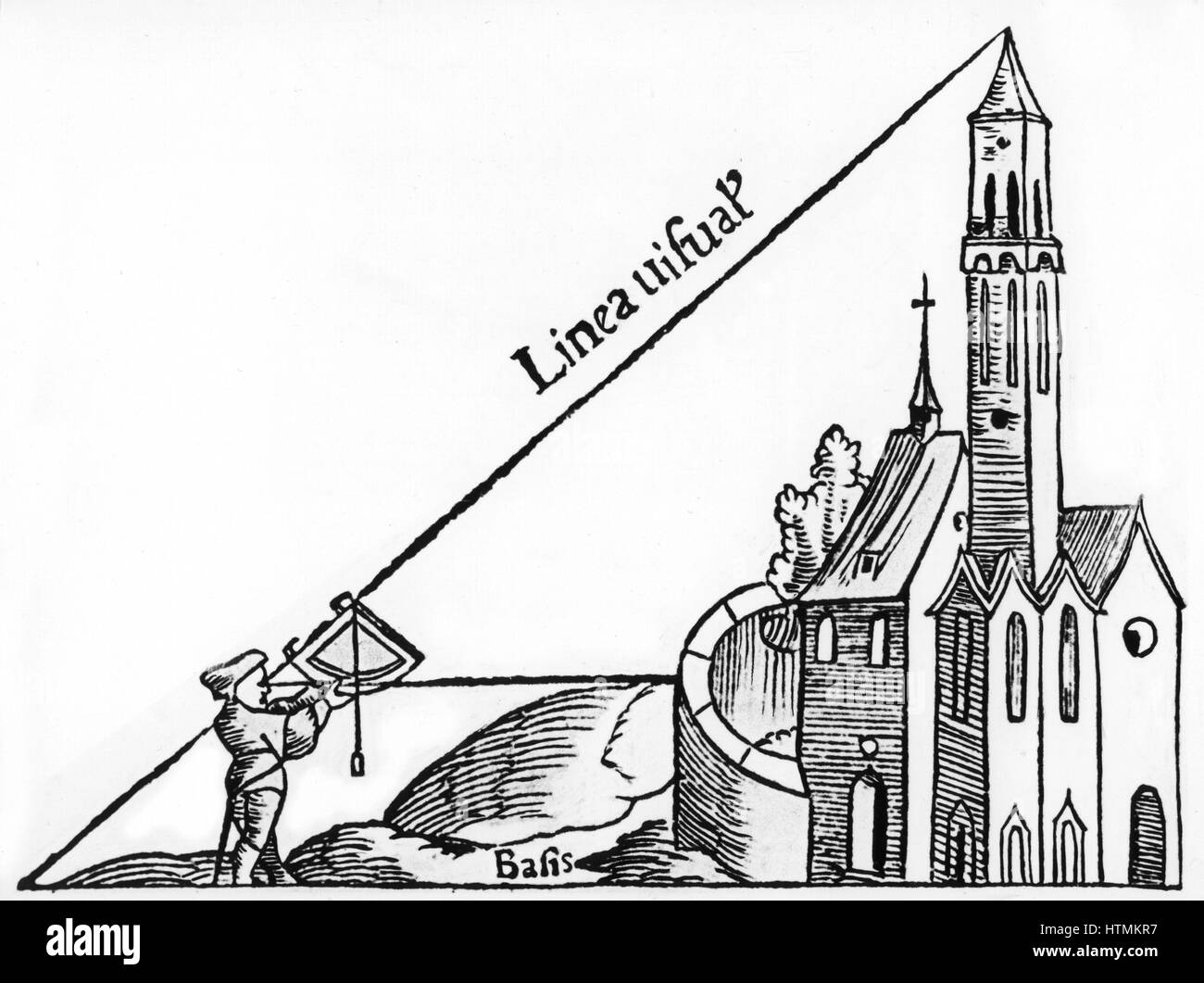 """Using a quadrant with a plumb bob to calculate the height of a tower by triangulation. From Sebastian Munster """"Rudimenta Stock Photo"""