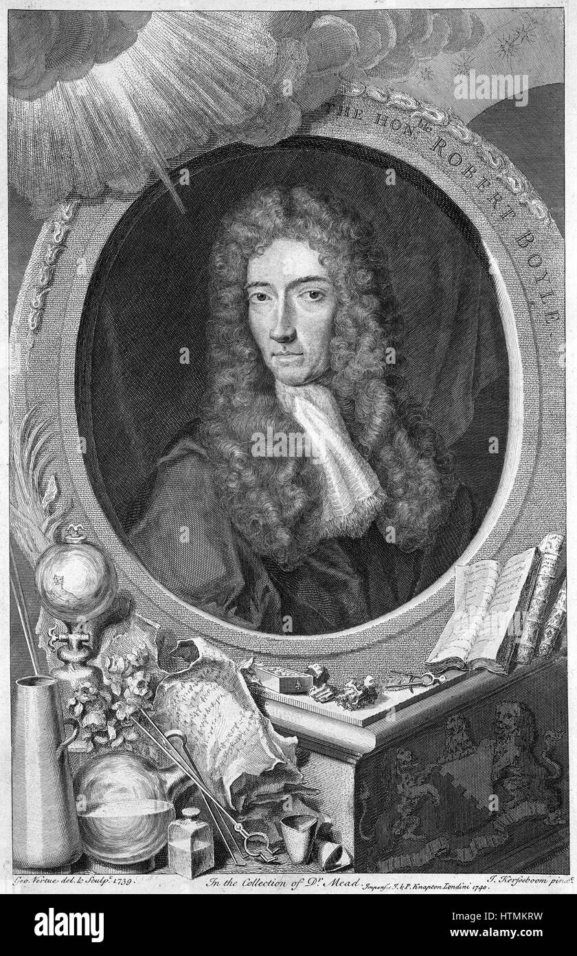 Robert Boyle (1627-1691) Anglo-Irish chemist and physicist. Copperplate engraving of 1739 by English printmaker - Stock Image