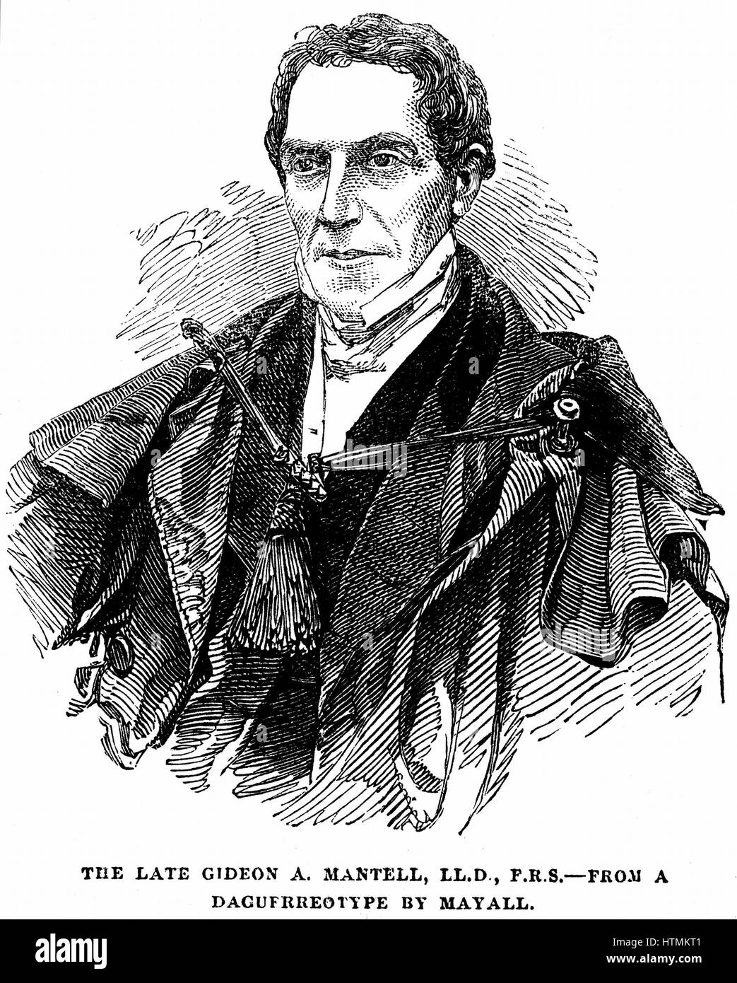 MANTELL, Gideon Algernon (1790-1852) English geologist who, in 1820, discovered the Iguanodon and deduced from its - Stock Image