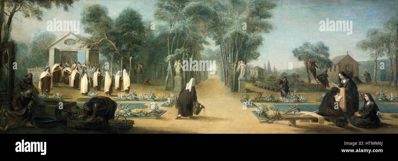 Anon. 18th century painting 'Carmelite nuns in the garden' - Stock Image