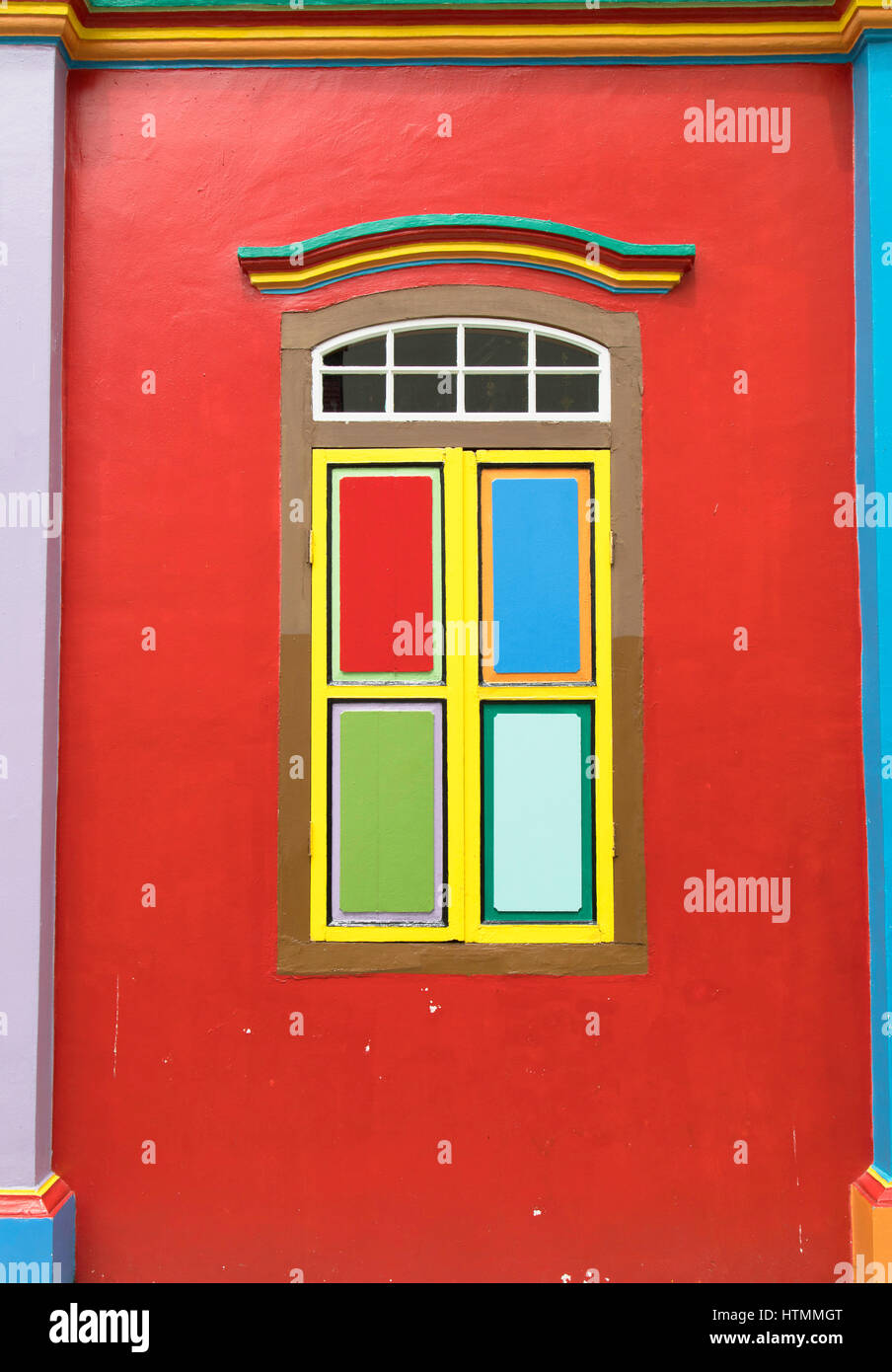 Shutters of traditional villa, Little India, Singapore - Stock Image