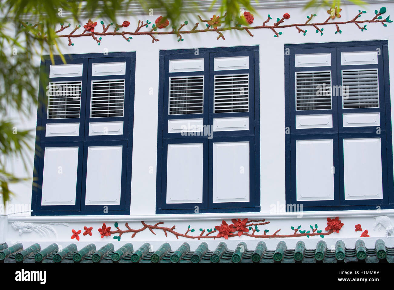 Shutters of traditional house, Chinatown, Singapore - Stock Image