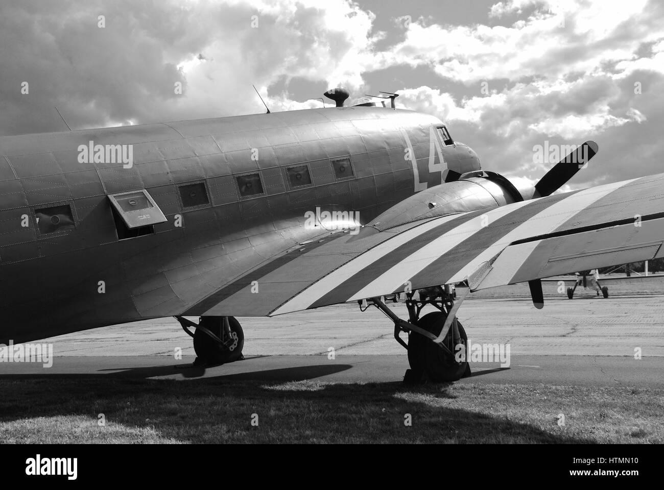 Douglas Dakota C47A military transport plane parked at Dunsfold aerodrome in Surrey, England. The Second World War - Stock Image