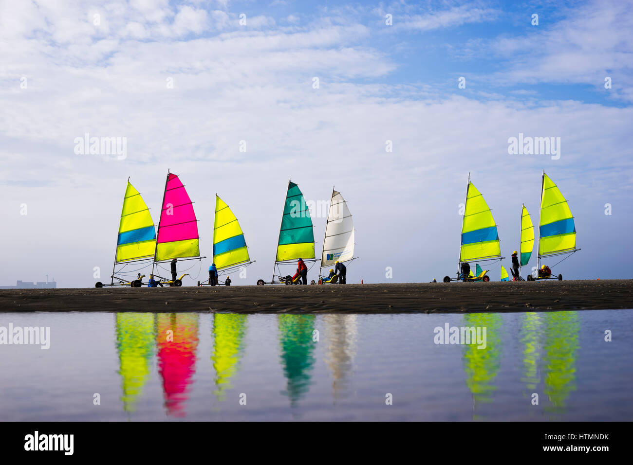 beach sailer at the coast of Boulogne-sur-Mer,  Region Hauts-de-France, France - Stock Image