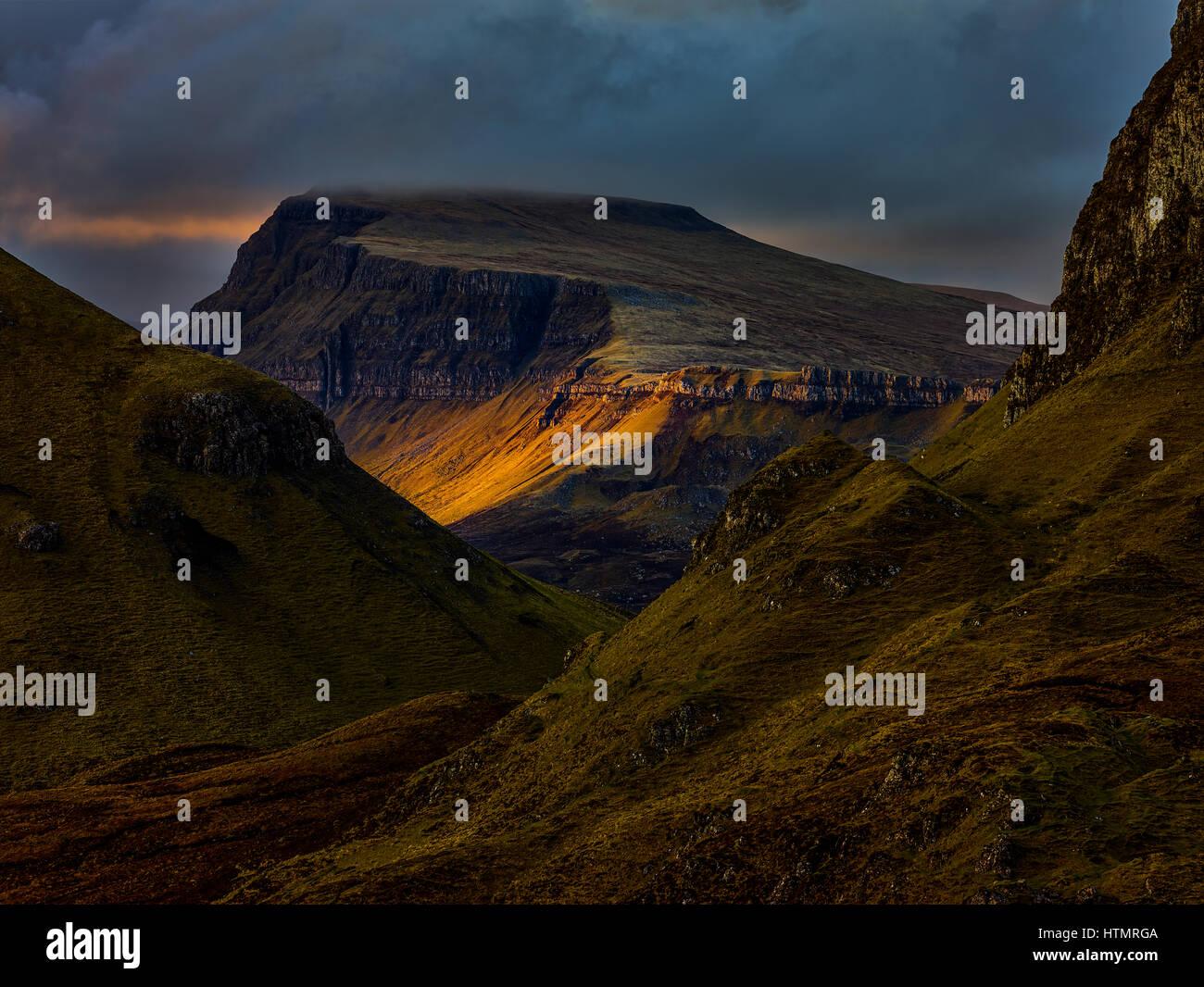 Fleeting Light at the Quiraing, Isle of Skye - Stock Image