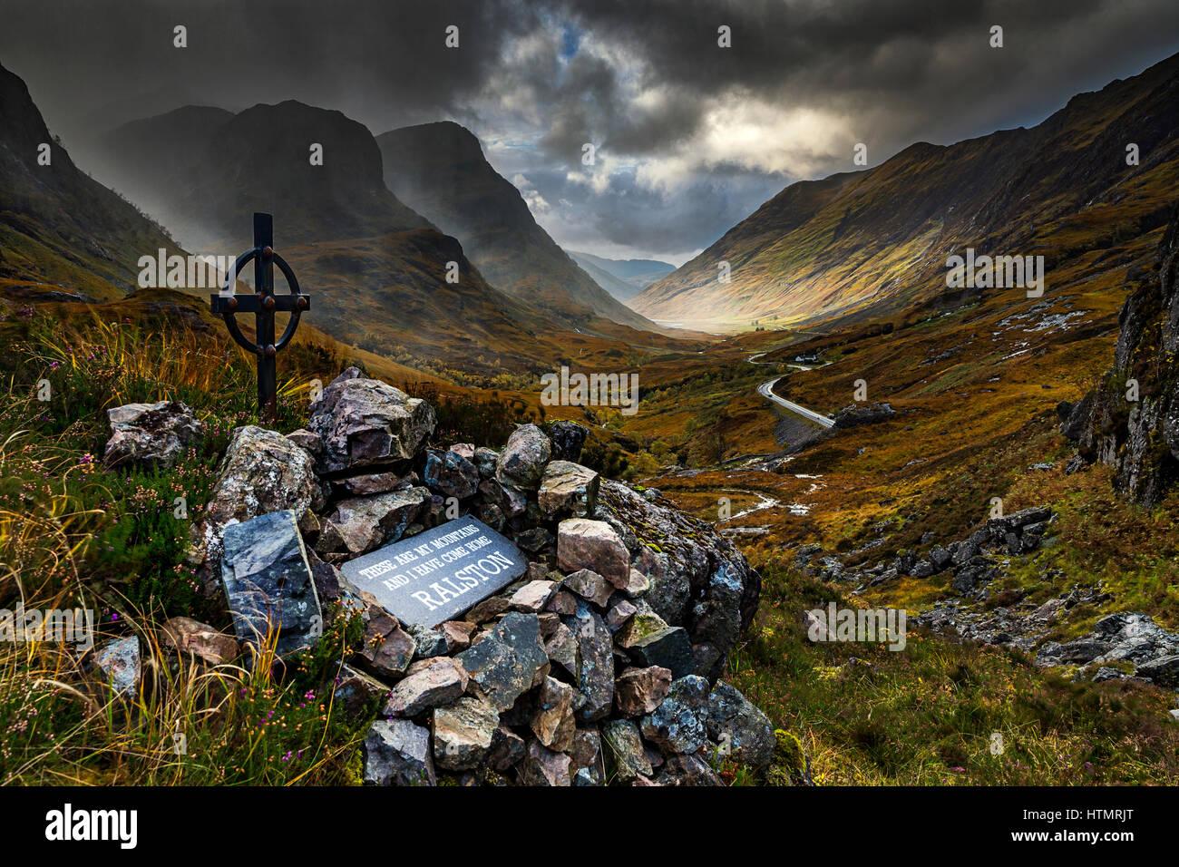 Ralston Cairn and Three Sisters, Glen Coe, Scotland - Stock Image