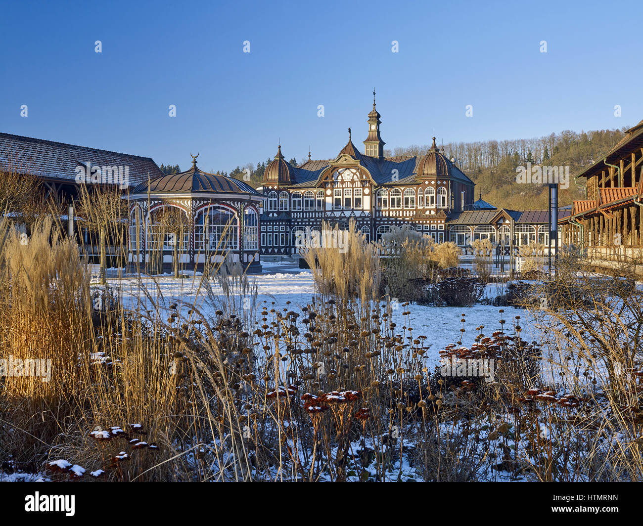 Central building of the spa house in Bad Salzungen, Germany - Stock Image