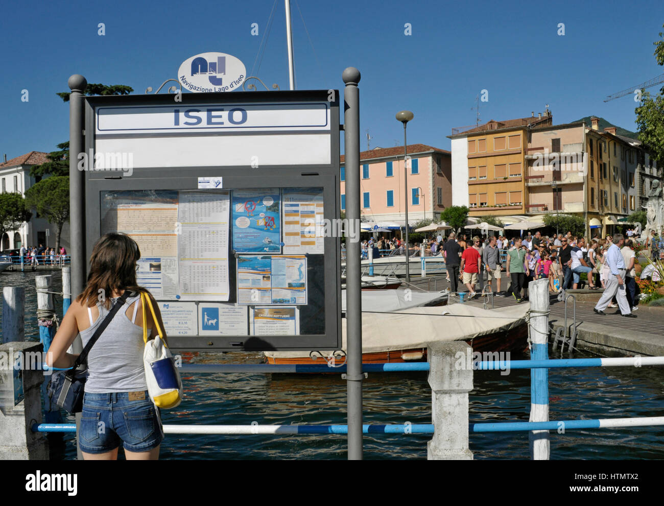 harbour in Iseo, Lake Iseo, Lombardy, Italy - Stock Image