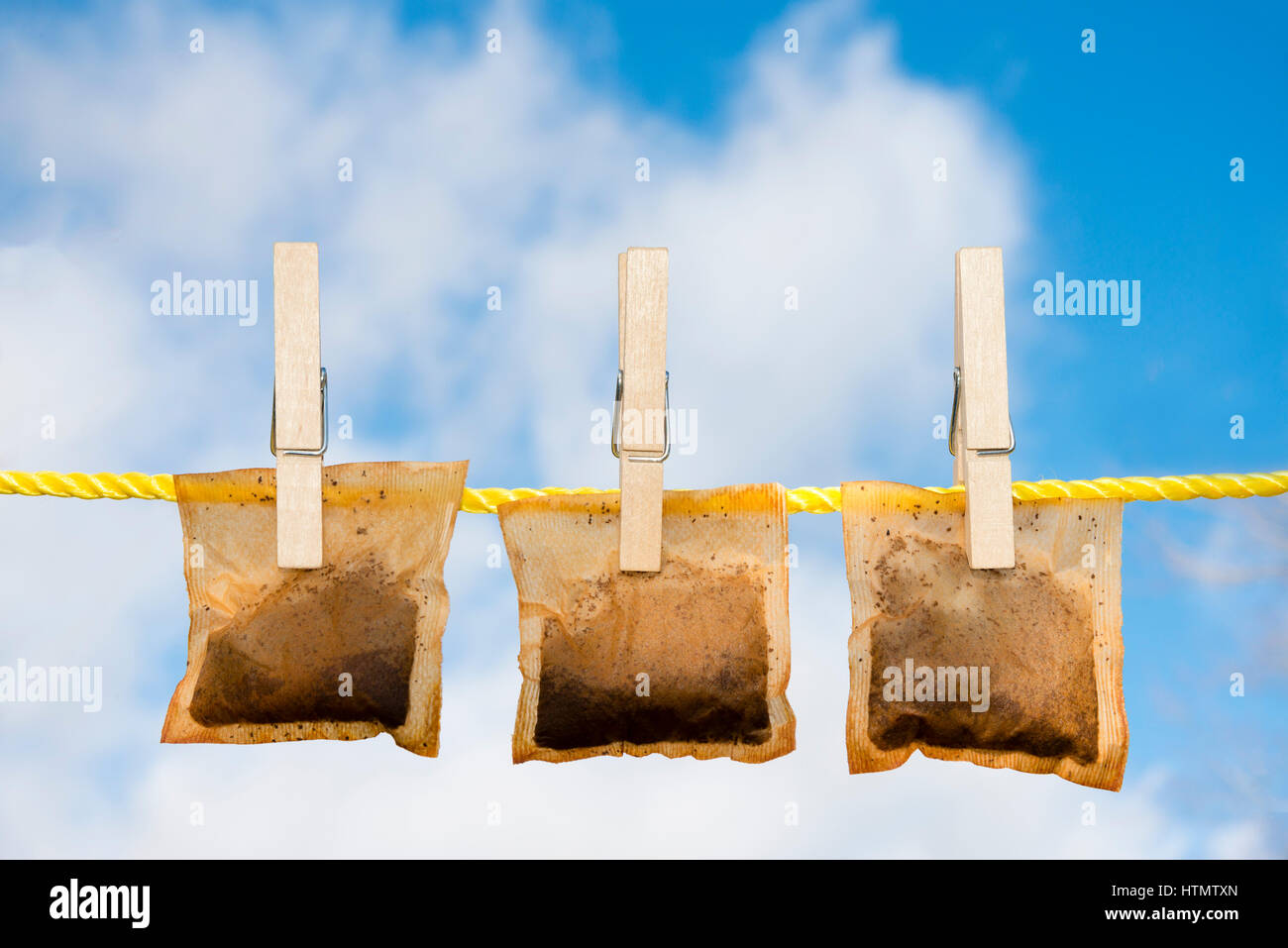 Used tea bags drying on a washing line. Money saving frugal lifestyle concept. - Stock Image