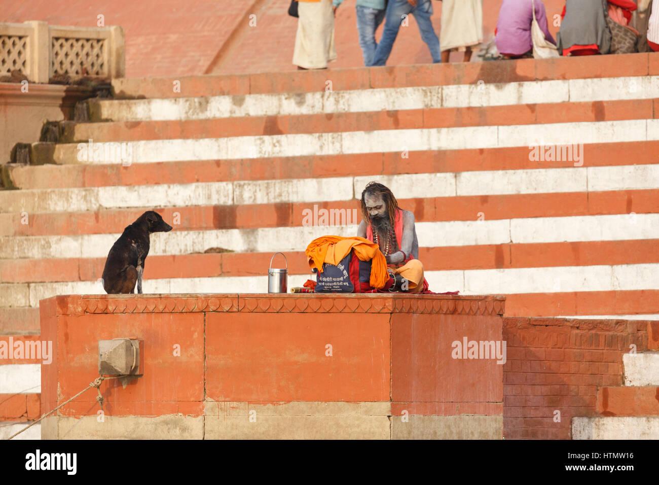 Sadhu on the Main Ghat at the Ganges, Varanasi, Uttar Pradesh, India - Stock Image