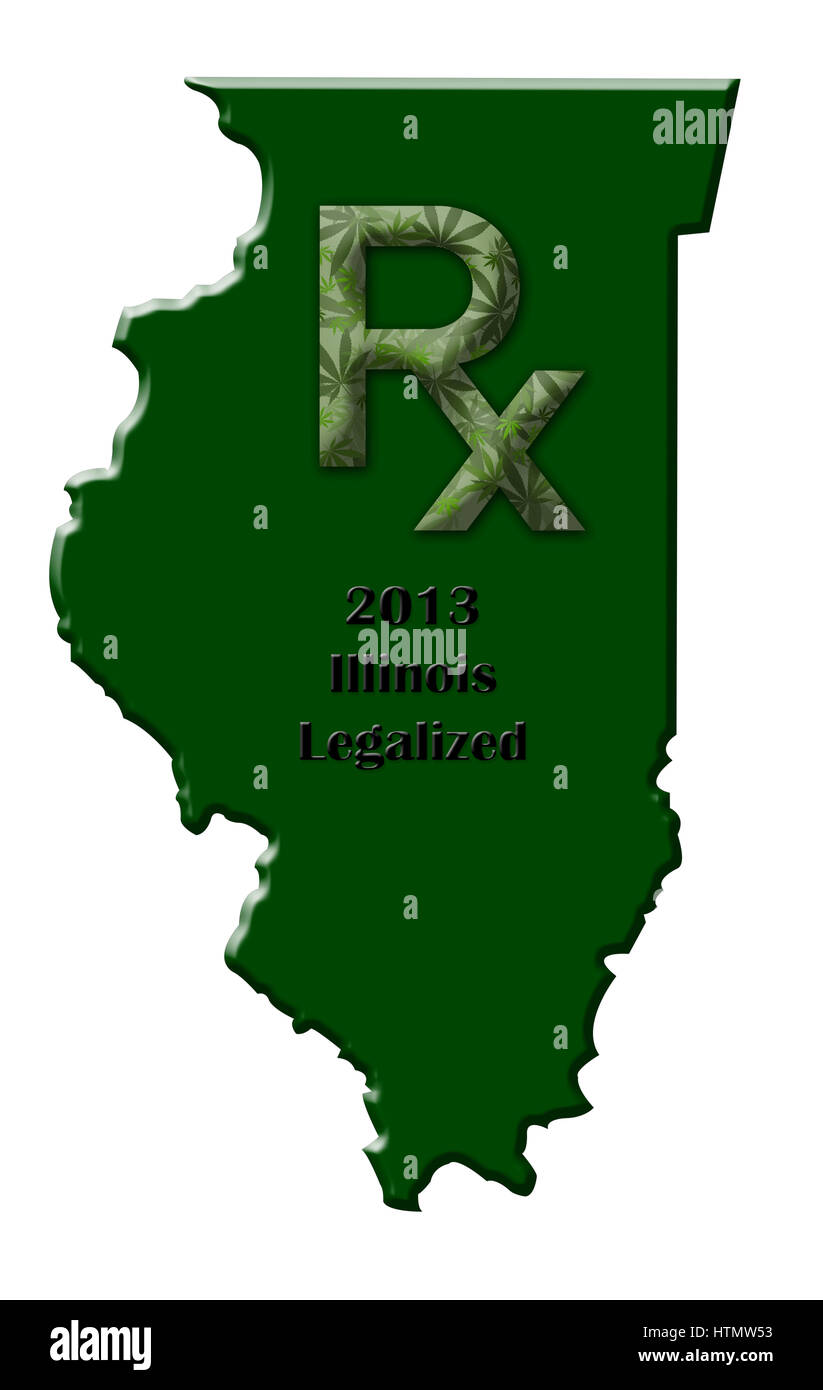 Map of the state of Illinois illustrating when medical marijuana was legalized. - Stock Image