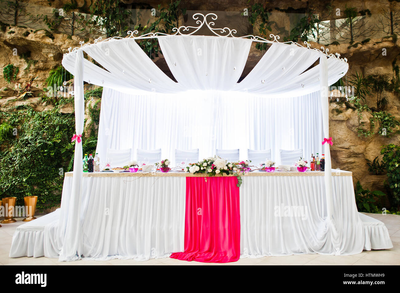 flower decoration for wedding reception.htm royal wedding arch with table newlyweds at hall stock photo  royal wedding arch with table newlyweds