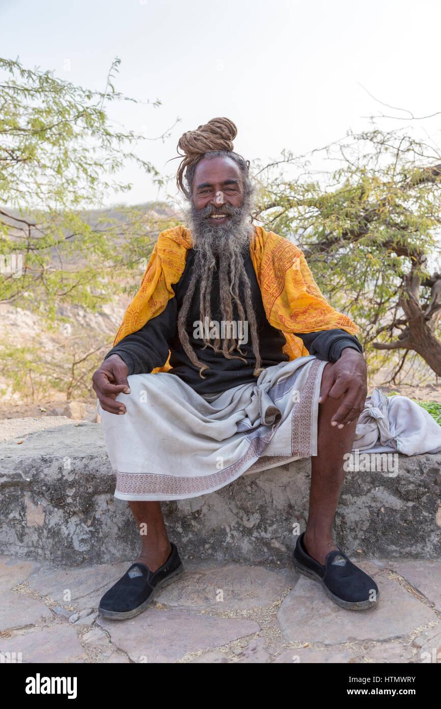 Sadhu Portrait, Galtaji, Rajasthan, India - Stock Image
