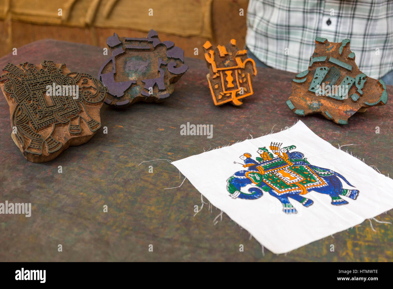 Woodblock printing, Jaipur,  India - Stock Image