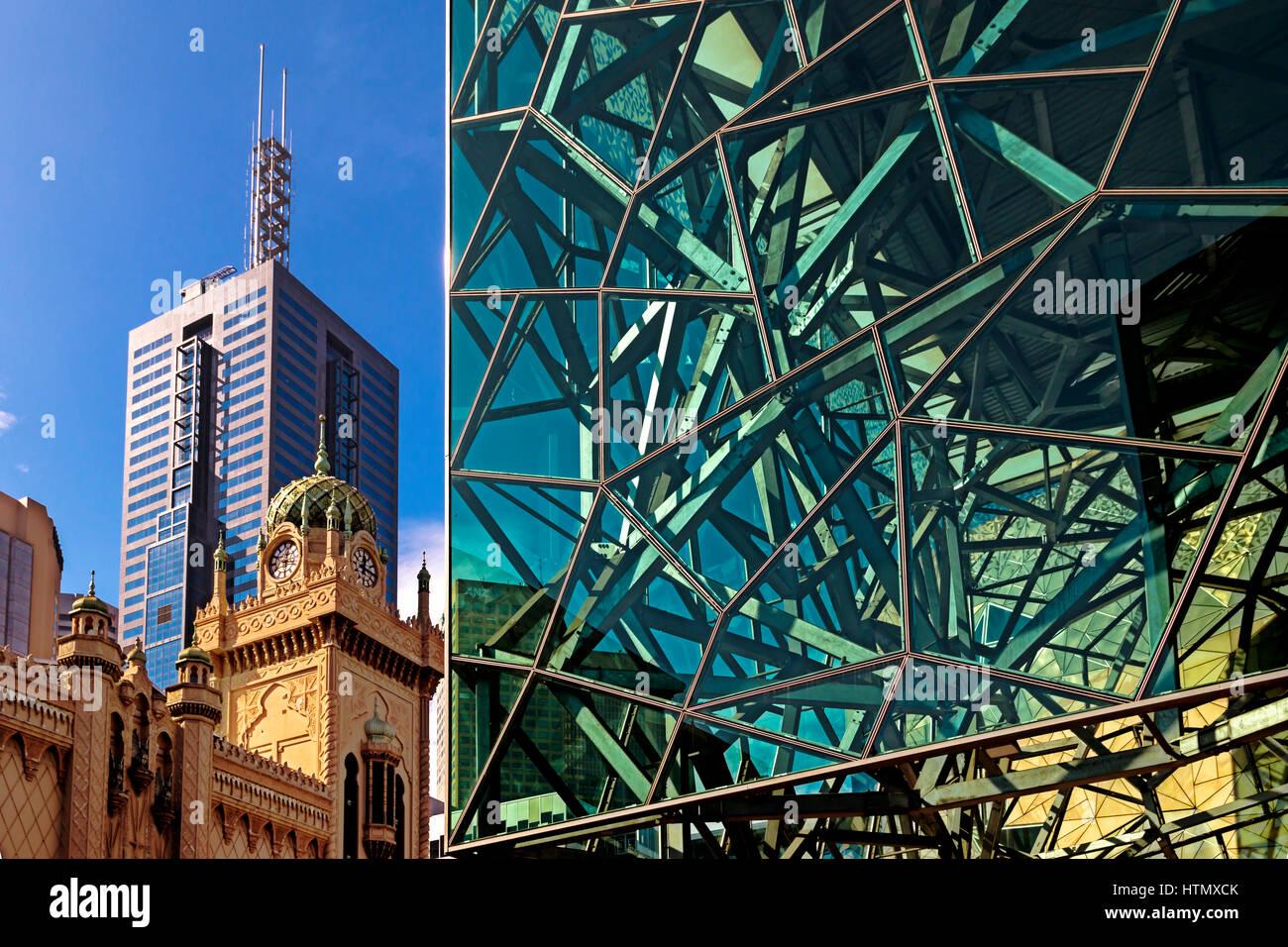 Modern architecture at Federation Square, Melbourne, Australia - Stock Image