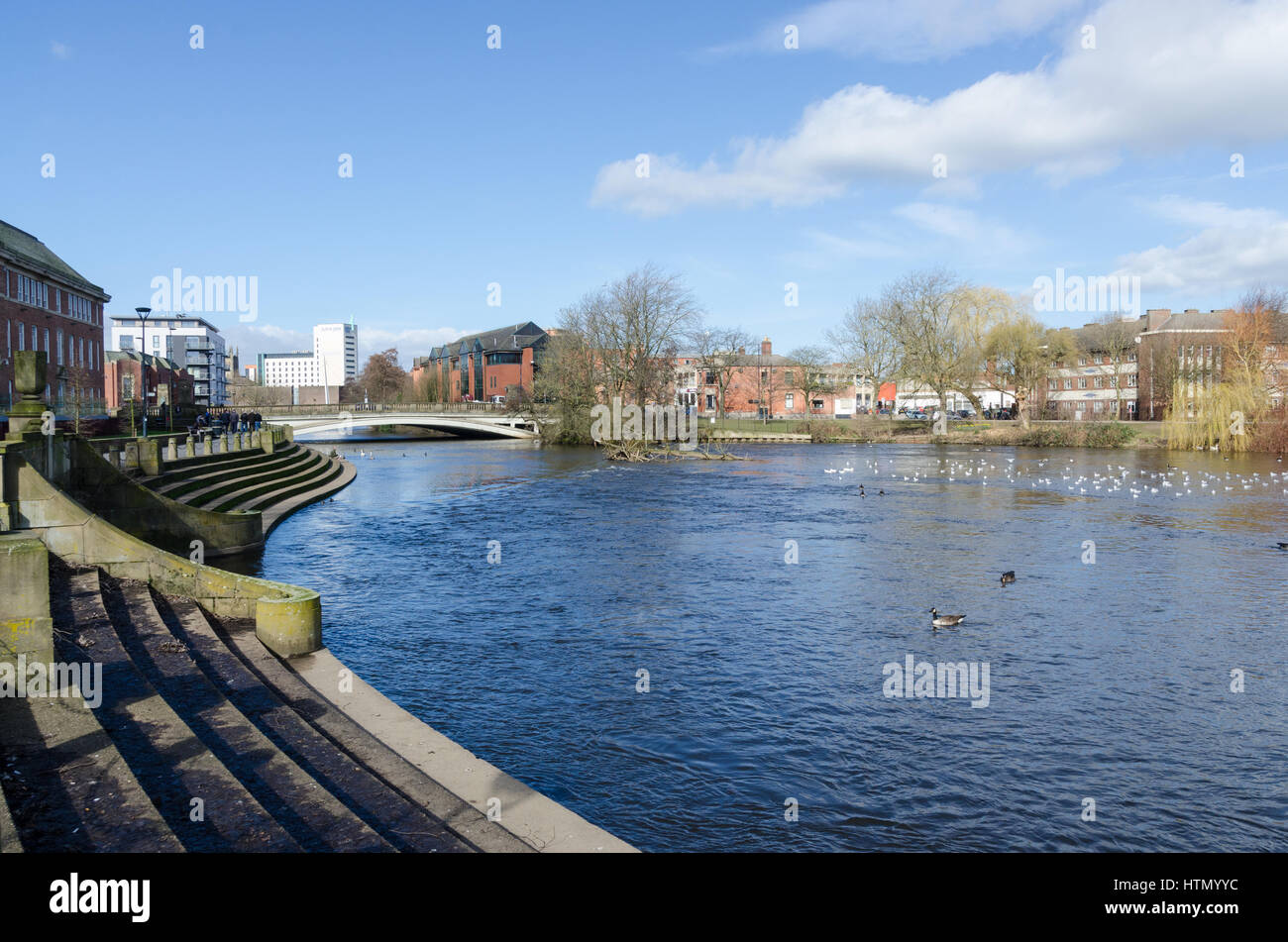 The River Derwent at Derby Riverside Gardens in the centre of Derby - Stock Image