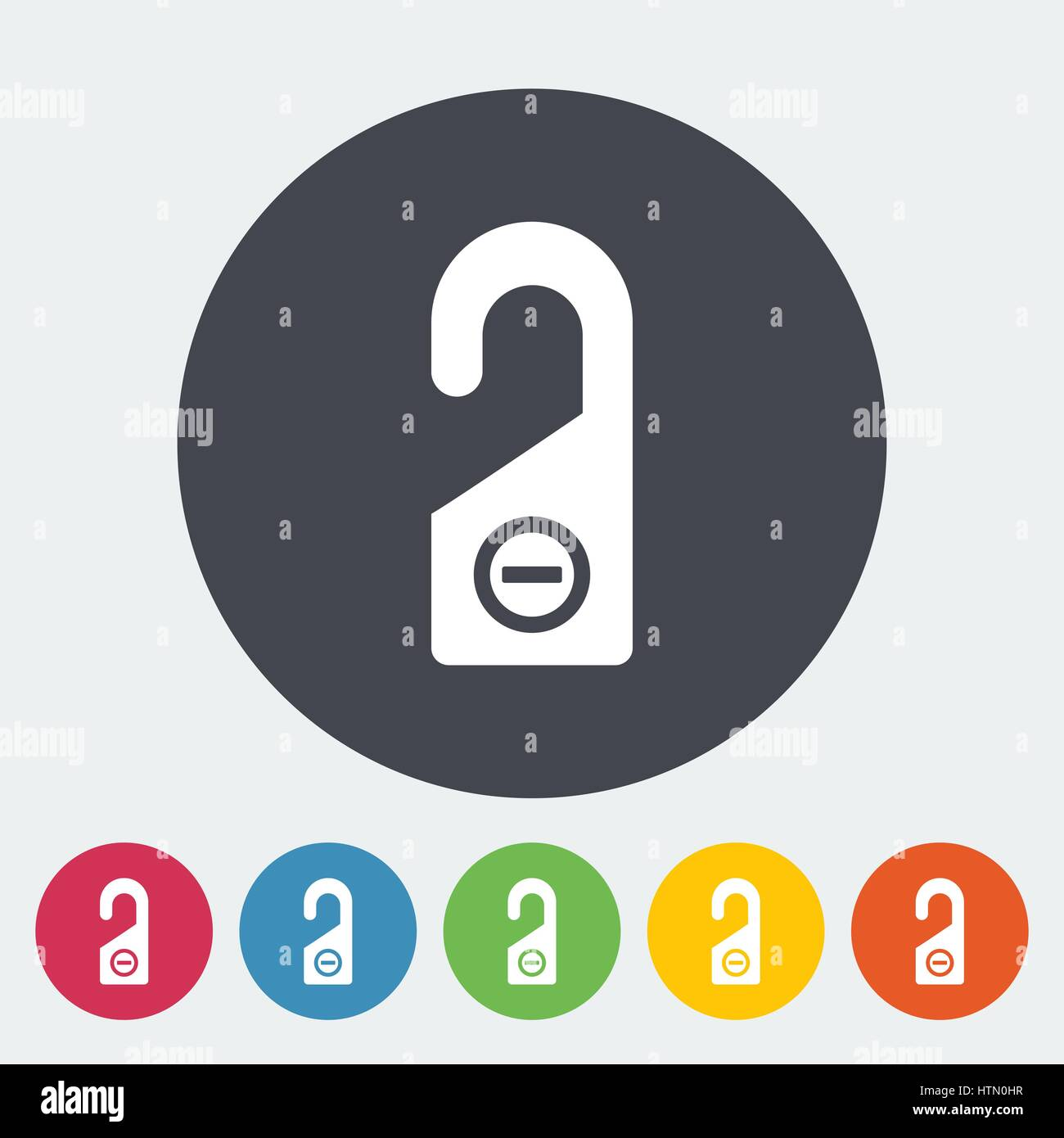 Door tag. Single flat icon on the circle. Vector illustration. Stock Vector