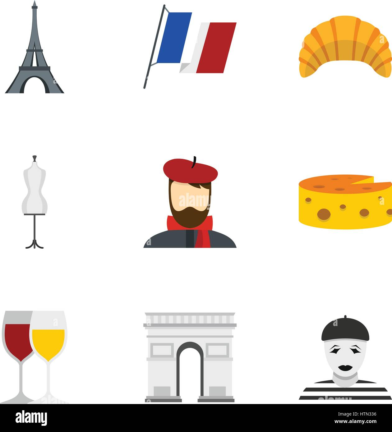 Welcome to France icons set. Flat illustration of 9 welcome to France vector icons for web - Stock Image