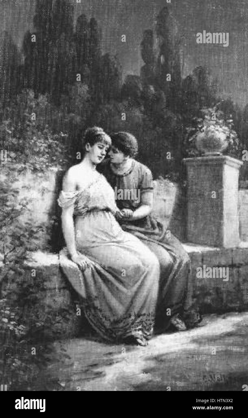 Josef Mathauser 1846-1917 - Milenci - Stock Image